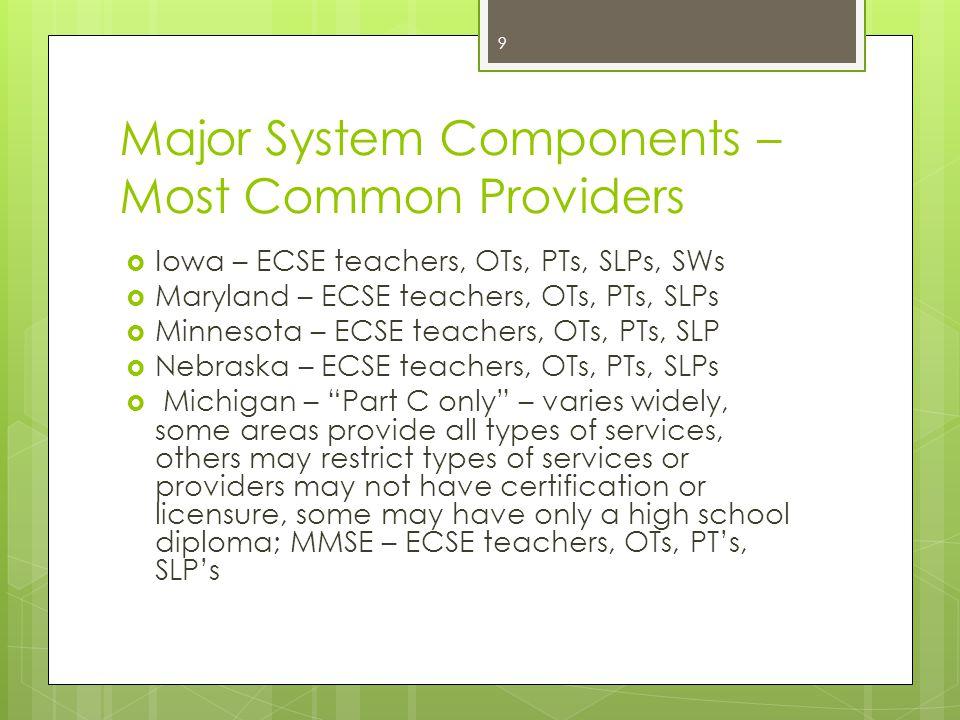 Major System Components – Most Common Providers  Iowa – ECSE teachers, OTs, PTs, SLPs, SWs  Maryland – ECSE teachers, OTs, PTs, SLPs  Minnesota – E