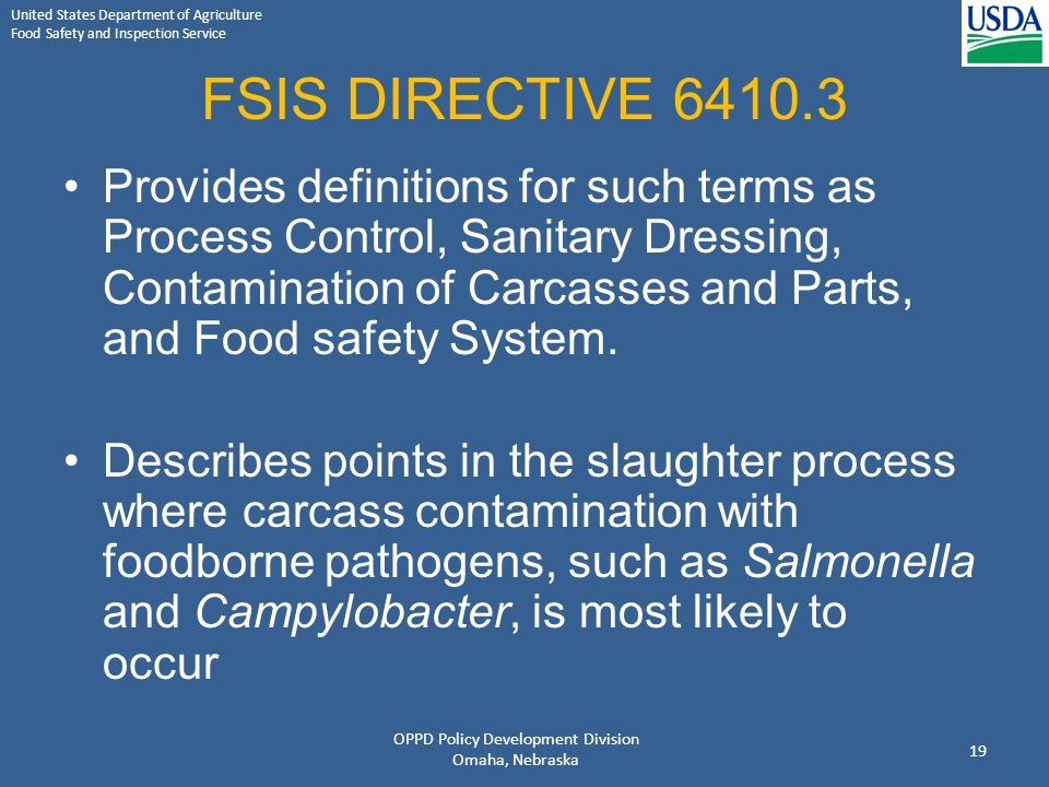 United States Department of Agriculture Food Safety and Inspection Service FSIS DIRECTIVE 6410.3 Provides definitions for such terms as Process Contro