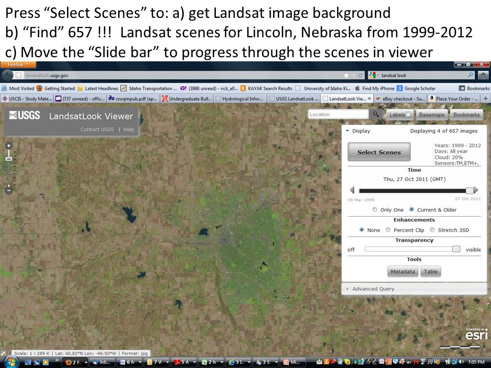 Press Select Scenes to: a) get Landsat image background b) Find 657 !!.