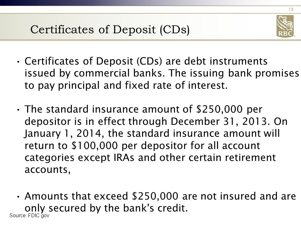 13 Certificates of Deposit (CDs) Certificates of Deposit (CDs) are debt instruments issued by commercial banks.