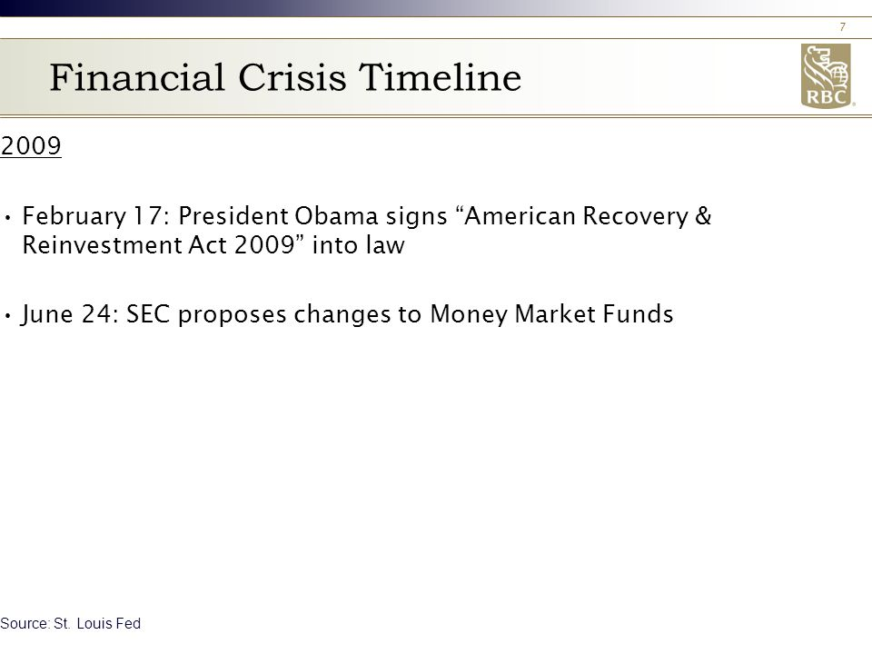 7 Financial Crisis Timeline 2009 February 17: President Obama signs American Recovery & Reinvestment Act 2009 into law June 24: SEC proposes changes to Money Market Funds Source: St.