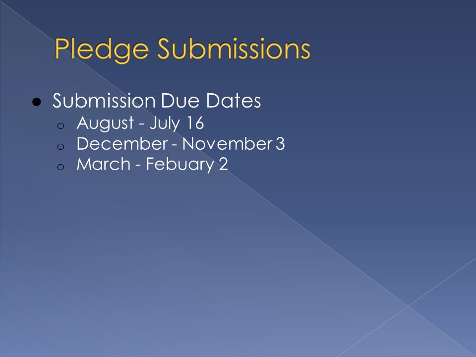 ● Submission Due Dates o August - July 16 o December - November 3 o March - Febuary 2