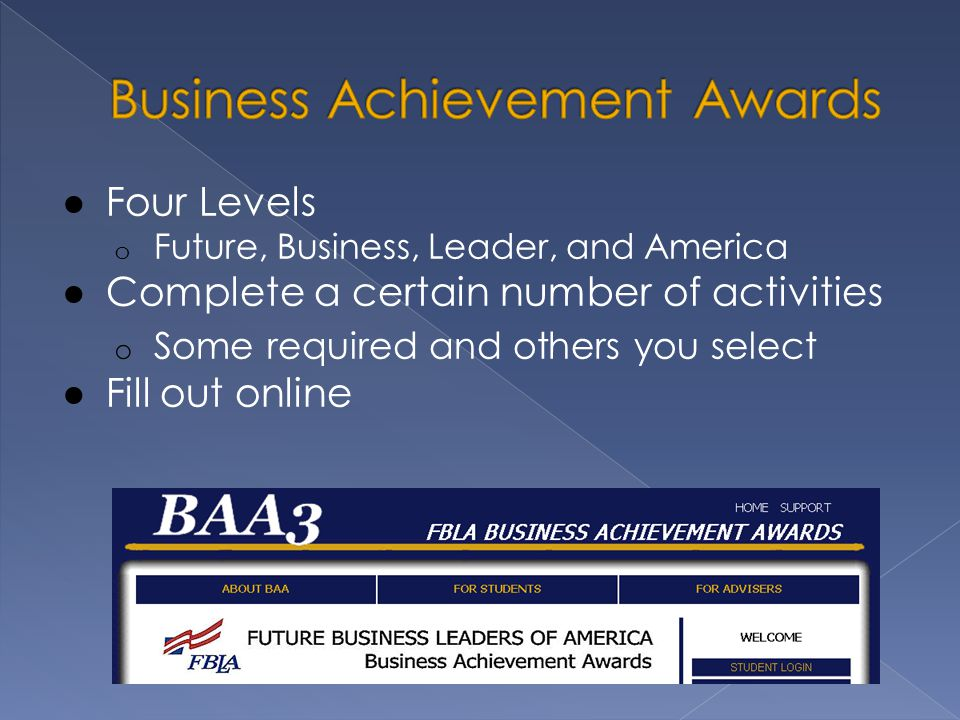 ● Four Levels o Future, Business, Leader, and America ● Complete a certain number of activities o Some required and others you select ● Fill out online