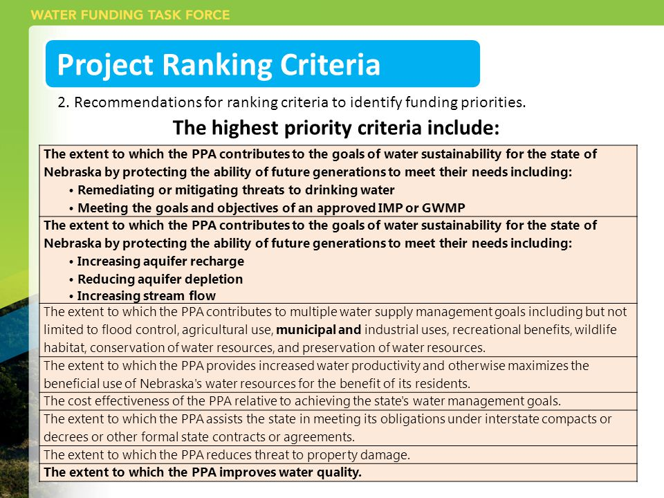 Project Ranking Criteria The highest priority criteria include: The extent to which the PPA contributes to the goals of water sustainability for the state of Nebraska by protecting the ability of future generations to meet their needs including: Remediating or mitigating threats to drinking water Meeting the goals and objectives of an approved IMP or GWMP The extent to which the PPA contributes to the goals of water sustainability for the state of Nebraska by protecting the ability of future generations to meet their needs including: Increasing aquifer recharge Reducing aquifer depletion Increasing stream flow The extent to which the PPA contributes to multiple water supply management goals including but not limited to flood control, agricultural use, municipal and industrial uses, recreational benefits, wildlife habitat, conservation of water resources, and preservation of water resources.