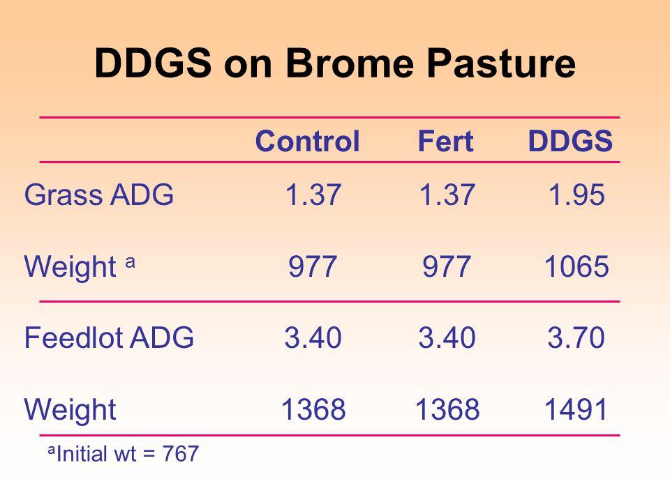 DDGS on Brome Pasture ControlFertDDGS Grass ADG1.371.371.95 Weight a 9779771065 Feedlot ADG3.403.403.70 Weight136813681491 a Initial wt = 767