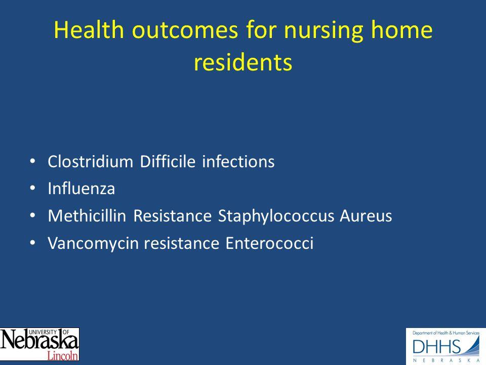 Health outcomes for nursing home residents Clostridium Difficile infections Influenza Methicillin Resistance Staphylococcus Aureus Vancomycin resistance Enterococci