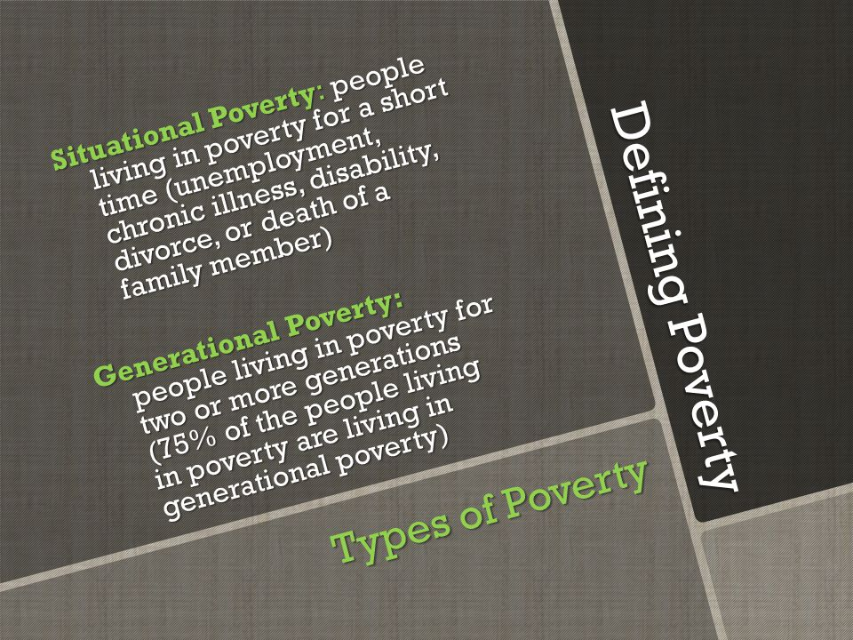 Defining Poverty Poverty is a lack of resources with regards to: o Financial: Money to purchase goods and services as well as assets like credit, property, and equity.