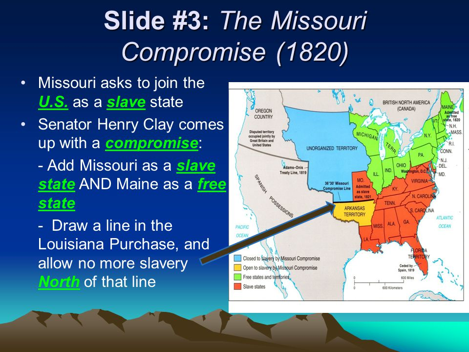 Slide #3: The Missouri Compromise (1820) Missouri asks to join the U.S.