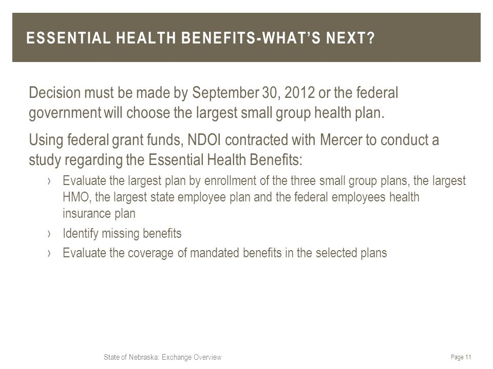 State of Nebraska: Exchange Overview Decision must be made by September 30, 2012 or the federal government will choose the largest small group health plan.