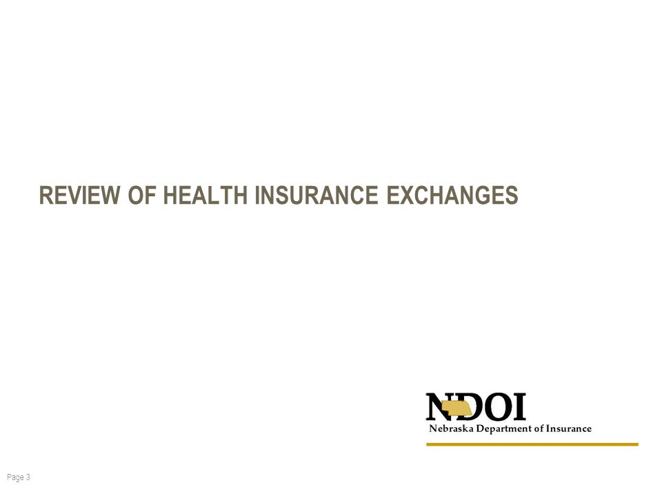 REVIEW OF HEALTH INSURANCE EXCHANGES Page 3