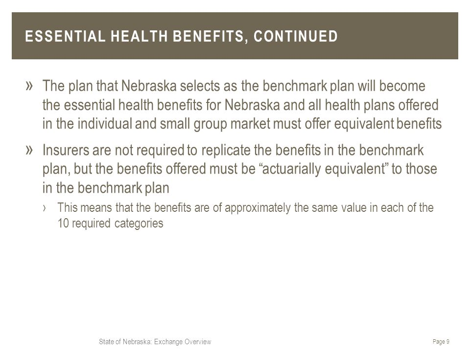State of Nebraska: Exchange Overview ESSENTIAL HEALTH BENEFITS, CONTINUED » The plan that Nebraska selects as the benchmark plan will become the essential health benefits for Nebraska and all health plans offered in the individual and small group market must offer equivalent benefits » Insurers are not required to replicate the benefits in the benchmark plan, but the benefits offered must be actuarially equivalent to those in the benchmark plan ›This means that the benefits are of approximately the same value in each of the 10 required categories Page 9