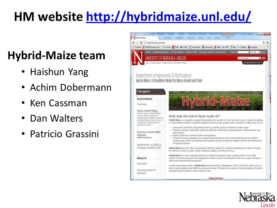 HM website http://hybridmaize.unl.edu/http://hybridmaize.unl.edu/ Hybrid-Maize team Haishun Yang Achim Dobermann Ken Cassman Dan Walters Patricio Gras