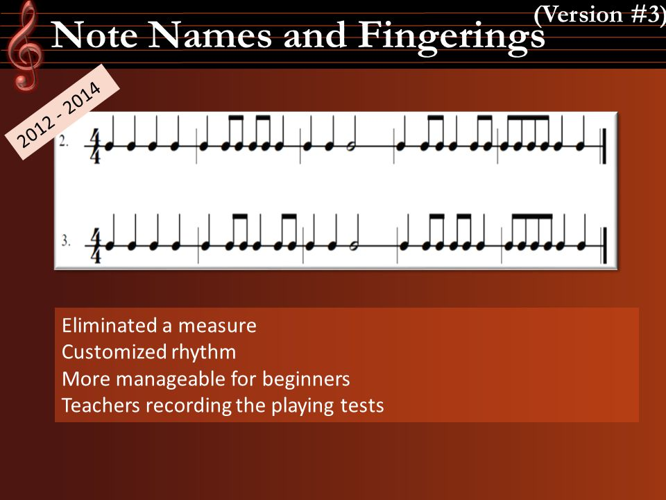 Note Names and Fingerings (Version #3) 2012 - 2014 Eliminated a measure Customized rhythm More manageable for beginners Teachers recording the playing
