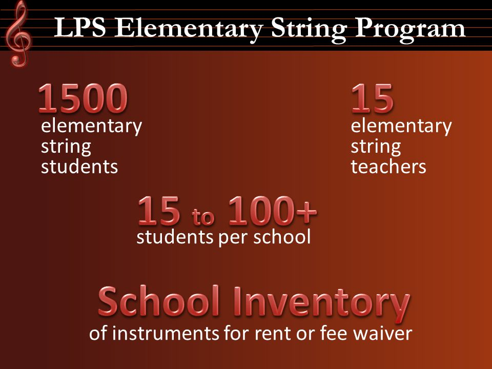 LPS Elementary String Program of instruments for rent or fee waiver elementary string students students per school elementary string teachers