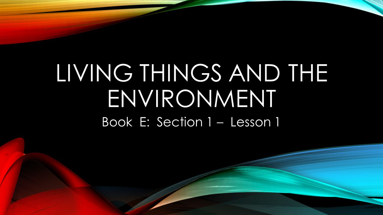 LIVING THINGS AND THE ENVIRONMENT Book E: Section 1 – Lesson 1