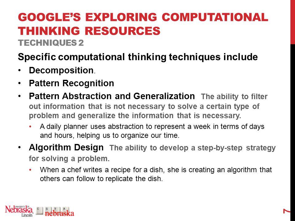 GOOGLE'S EXPLORING COMPUTATIONAL THINKING RESOURCES RELATIONSHIPS 8 Problem Decomposition Pattern Abstraction & Generalization Pattern Recognition Algorithmic Design Problem Decomposed Problem Patterns Algorithms