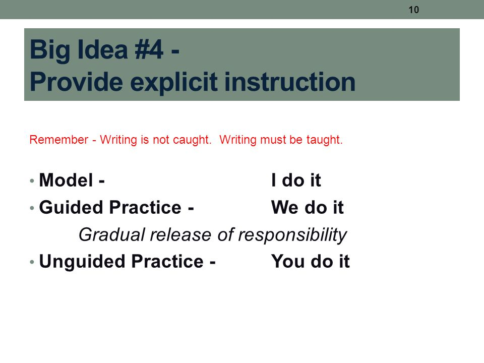 Big Idea #4 - Provide explicit instruction Remember - Writing is not caught. Writing must be taught. Model -I do it Guided Practice -We do it Gradual