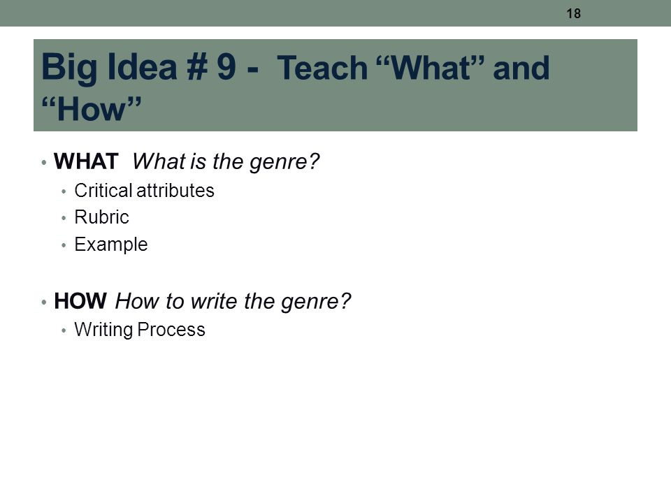 "Big Idea # 9 - Teach ""What"" and ""How"" WHAT What is the genre? Critical attributes Rubric Example HOW How to write the genre? Writing Process 18"