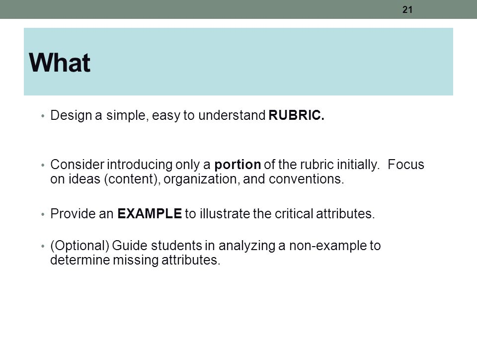 What Design a simple, easy to understand RUBRIC. Consider introducing only a portion of the rubric initially. Focus on ideas (content), organization,