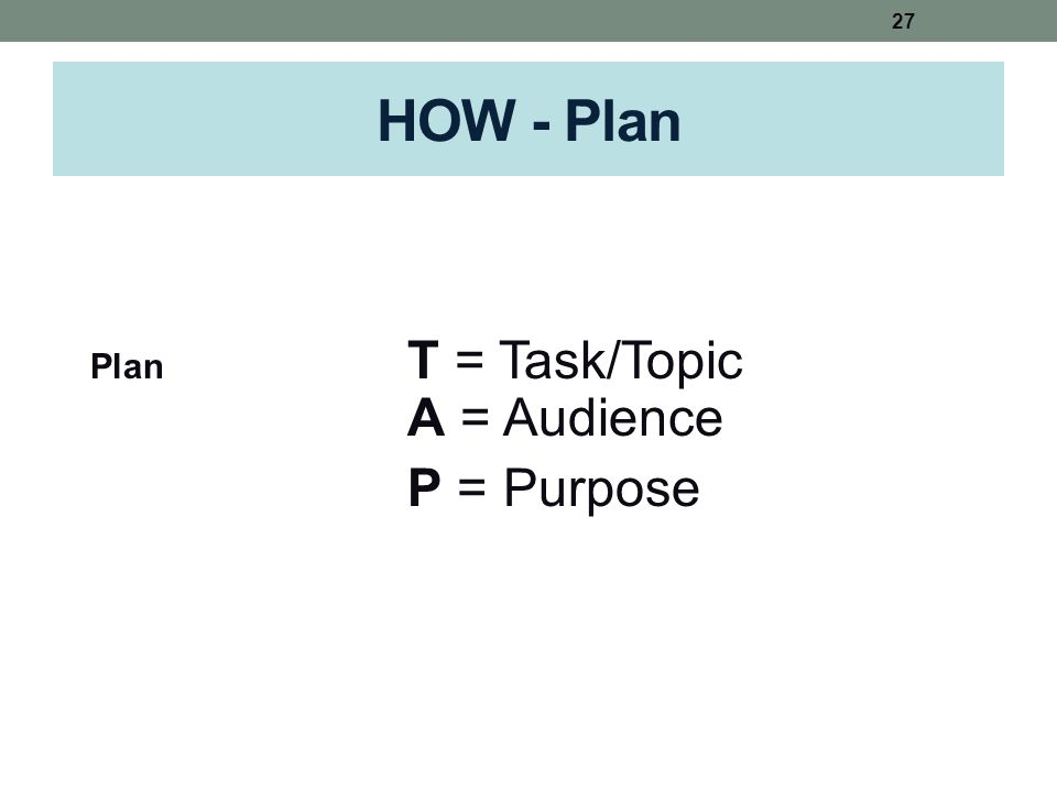 HOW - Plan Plan T = Task/Topic A = Audience P = Purpose 27