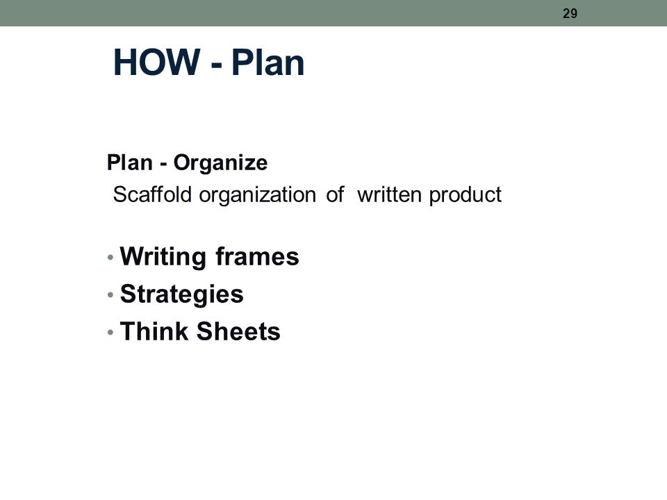 HOW - Plan Plan - Organize Scaffold organization of written product Writing frames Strategies Think Sheets 29