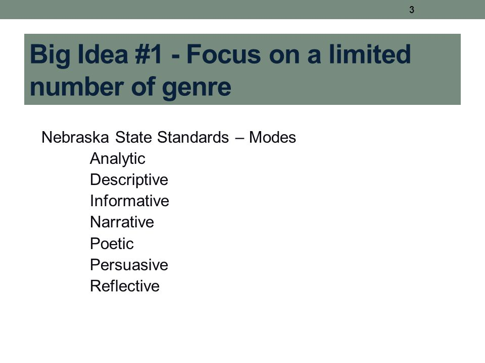 Big Idea #1 - Focus on a limited number of genre Nebraska State Standards – Modes Analytic Descriptive Informative Narrative Poetic Persuasive Reflect