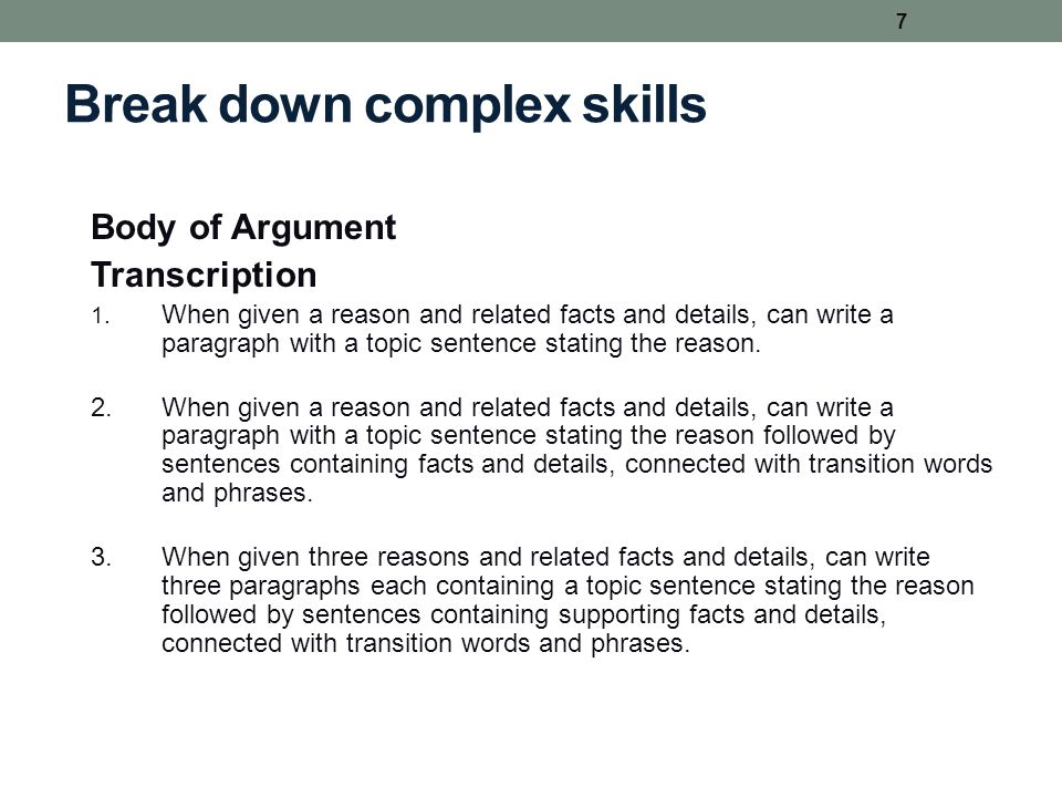 Break down complex skills Body of Argument Transcription 1. When given a reason and related facts and details, can write a paragraph with a topic sent