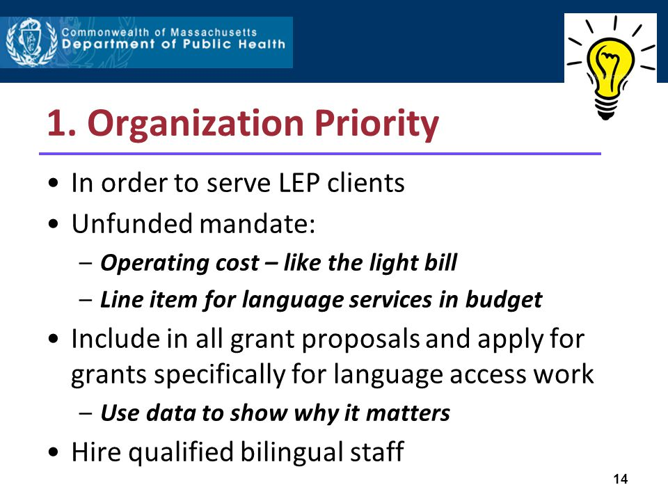 1. Organization Priority In order to serve LEP clients Unfunded mandate: –Operating cost – like the light bill –Line item for language services in bud