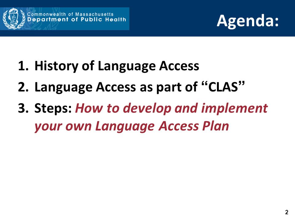 Agenda: 1.History of Language Access 2.Language Access as part of CLAS 3.Steps: How to develop and implement your own Language Access Plan 2