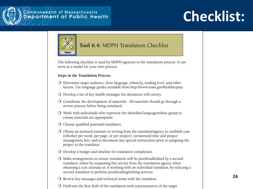 Checklist: 26