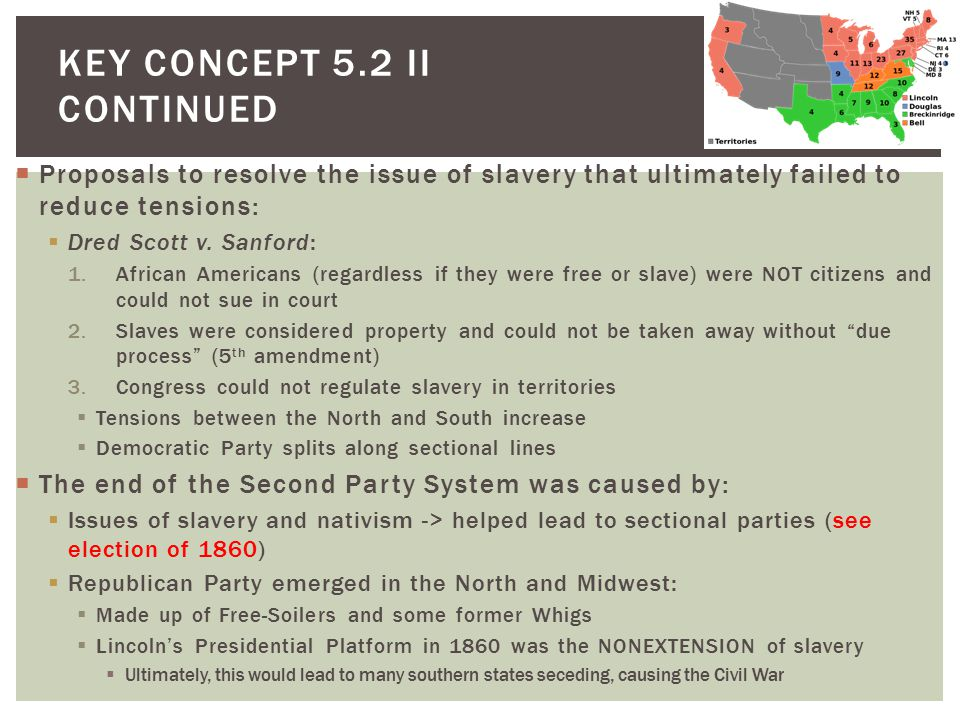  Proposals to resolve the issue of slavery that ultimately failed to reduce tensions:  Dred Scott v.