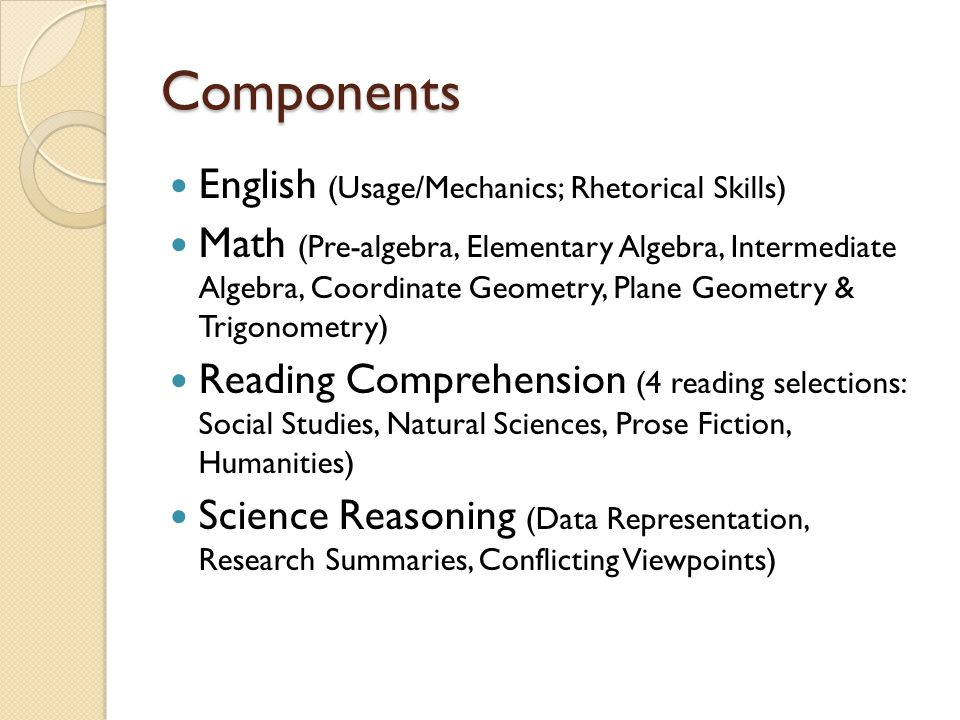 Components English (Usage/Mechanics; Rhetorical Skills) Math (Pre-algebra, Elementary Algebra, Intermediate Algebra, Coordinate Geometry, Plane Geometry & Trigonometry) Reading Comprehension (4 reading selections: Social Studies, Natural Sciences, Prose Fiction, Humanities) Science Reasoning (Data Representation, Research Summaries, Conflicting Viewpoints)