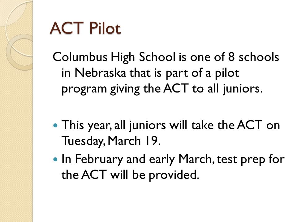 Other times to take the ACT.