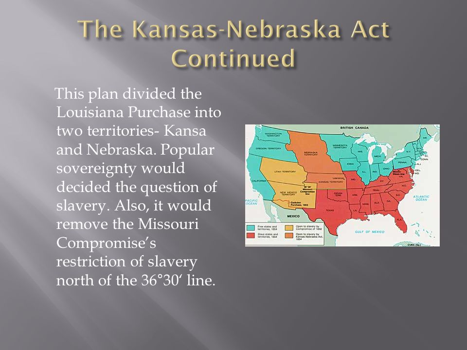 This plan divided the Louisiana Purchase into two territories- Kansa and Nebraska.