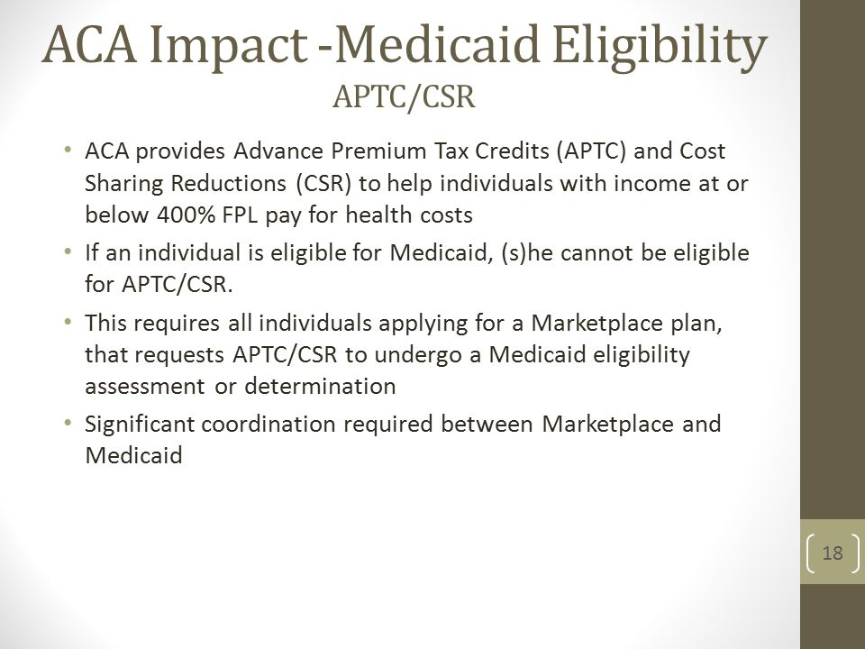 ACA Impact -Medicaid Eligibility APTC/CSR ACA provides Advance Premium Tax Credits (APTC) and Cost Sharing Reductions (CSR) to help individuals with income at or below 400% FPL pay for health costs If an individual is eligible for Medicaid, (s)he cannot be eligible for APTC/CSR.