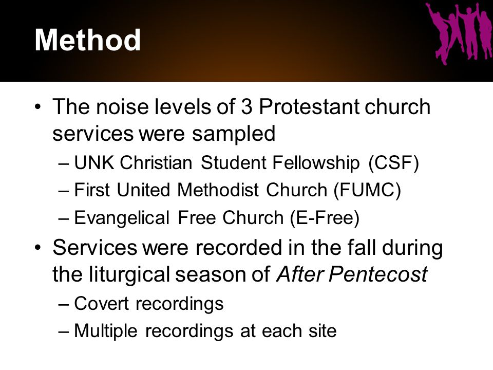 Method The noise levels of 3 Protestant church services were sampled –UNK Christian Student Fellowship (CSF) –First United Methodist Church (FUMC) –Evangelical Free Church (E-Free) Services were recorded in the fall during the liturgical season of After Pentecost –Covert recordings –Multiple recordings at each site