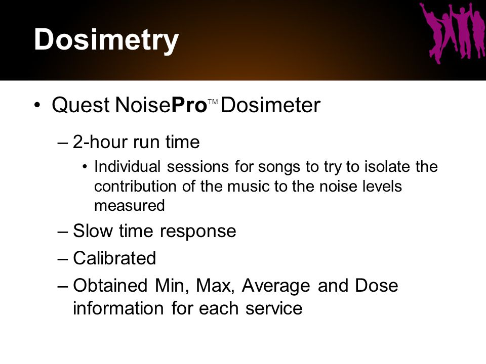 Dosimetry Quest NoisePro TM Dosimeter –2-hour run time Individual sessions for songs to try to isolate the contribution of the music to the noise levels measured –Slow time response –Calibrated –Obtained Min, Max, Average and Dose information for each service