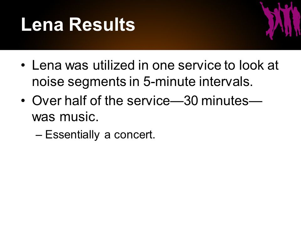 Lena Results Lena was utilized in one service to look at noise segments in 5-minute intervals.