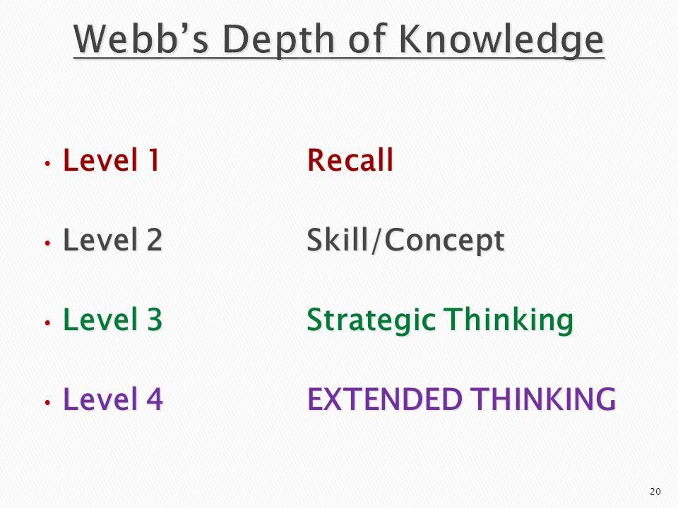 Level 1Recall Level 1Recall Level 2Skill/Concept Level 2Skill/Concept Level 3Strategic Thinking Level 3Strategic Thinking Level 4EXTENDED THINKING Level 4EXTENDED THINKING 20