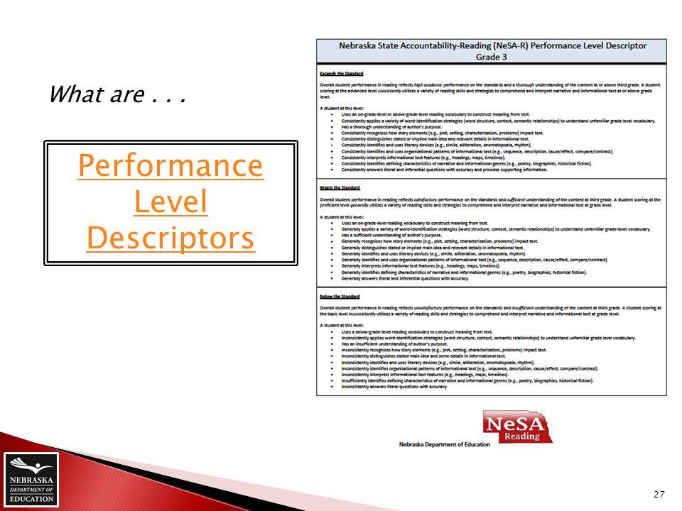Performance Level Descriptors What are... 27