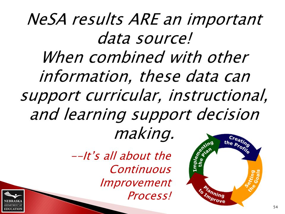 NeSA results ARE an important data source! When combined with other information, these data can support curricular, instructional, and learning suppor