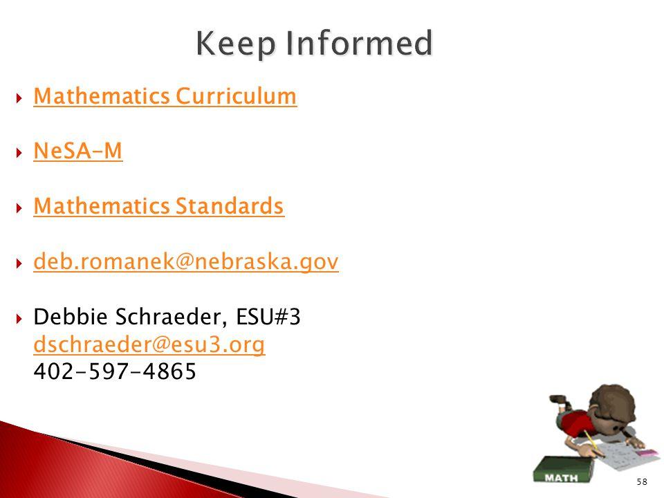  Mathematics Curriculum Mathematics Curriculum  NeSA-M NeSA-M  Mathematics Standards Mathematics Standards  deb.romanek@nebraska.gov deb.romanek@nebraska.gov  Debbie Schraeder, ESU#3 dschraeder@esu3.org 402-597-4865 58
