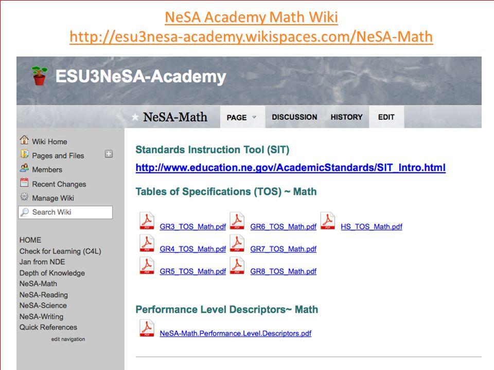 NeSA Academy Math Wiki NeSA Academy Math Wiki http://esu3nesa-academy.wikispaces.com/NeSA-Math 6