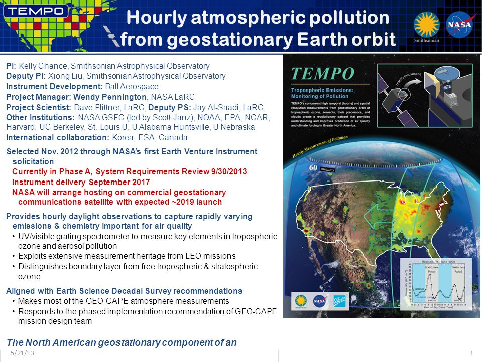 Hourly atmospheric pollution from geostationary Earth orbit PI: Kelly Chance, Smithsonian Astrophysical Observatory Deputy PI: Xiong Liu, Smithsonian