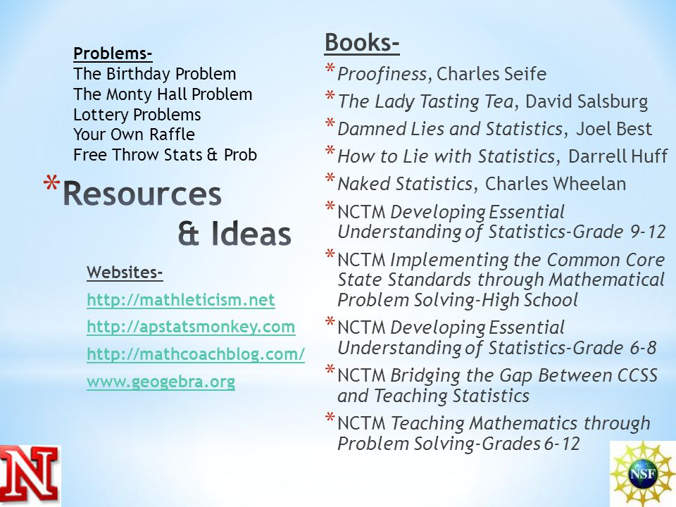 Books- * Proofiness, Charles Seife * The Lady Tasting Tea, David Salsburg * Damned Lies and Statistics, Joel Best * How to Lie with Statistics, Darrell Huff * Naked Statistics, Charles Wheelan * NCTM Developing Essential Understanding of Statistics-Grade 9-12 * NCTM Implementing the Common Core State Standards through Mathematical Problem Solving-High School * NCTM Developing Essential Understanding of Statistics-Grade 6-8 * NCTM Bridging the Gap Between CCSS and Teaching Statistics * NCTM Teaching Mathematics through Problem Solving-Grades 6-12 Websites- http://mathleticism.net http://apstatsmonkey.com http://mathcoachblog.com/ www.geogebra.org Problems- The Birthday Problem The Monty Hall Problem Lottery Problems Your Own Raffle Free Throw Stats & Prob