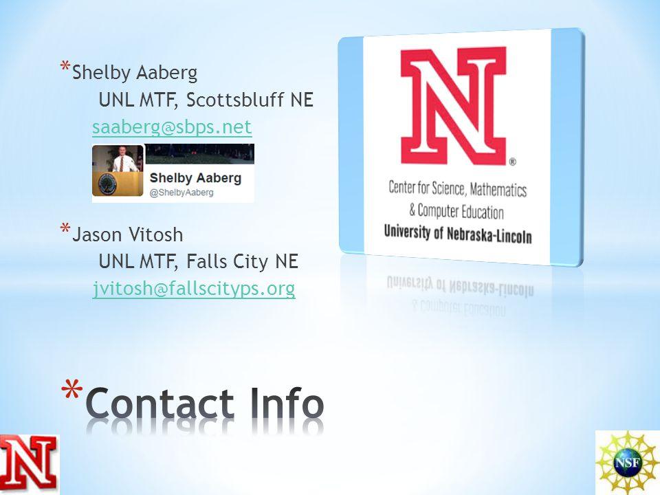 * Shelby Aaberg UNL MTF, Scottsbluff NE saaberg@sbps.net * Jason Vitosh UNL MTF, Falls City NE jvitosh@fallscityps.org