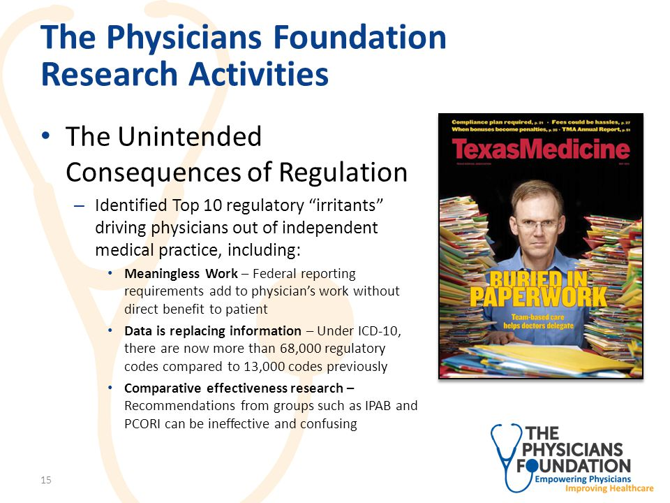The Physicians Foundation Research Activities The Unintended Consequences of Regulation – Identified Top 10 regulatory irritants driving physicians out of independent medical practice, including: Meaningless Work – Federal reporting requirements add to physician's work without direct benefit to patient Data is replacing information – Under ICD-10, there are now more than 68,000 regulatory codes compared to 13,000 codes previously Comparative effectiveness research – Recommendations from groups such as IPAB and PCORI can be ineffective and confusing 15
