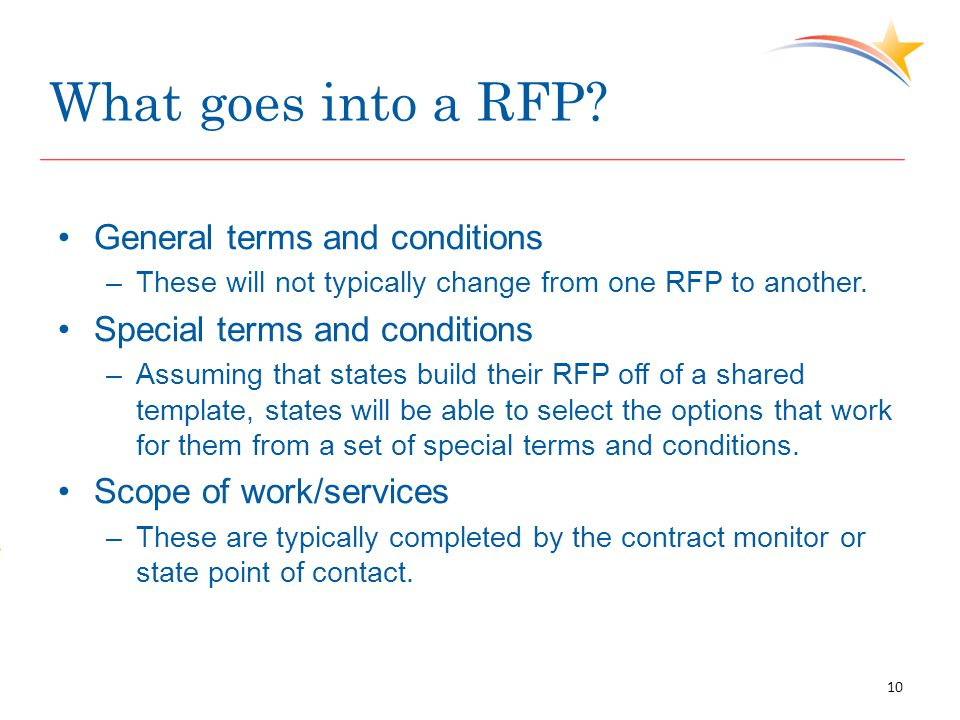 What goes into a RFP? General terms and conditions –These will not typically change from one RFP to another. Special terms and conditions –Assuming th