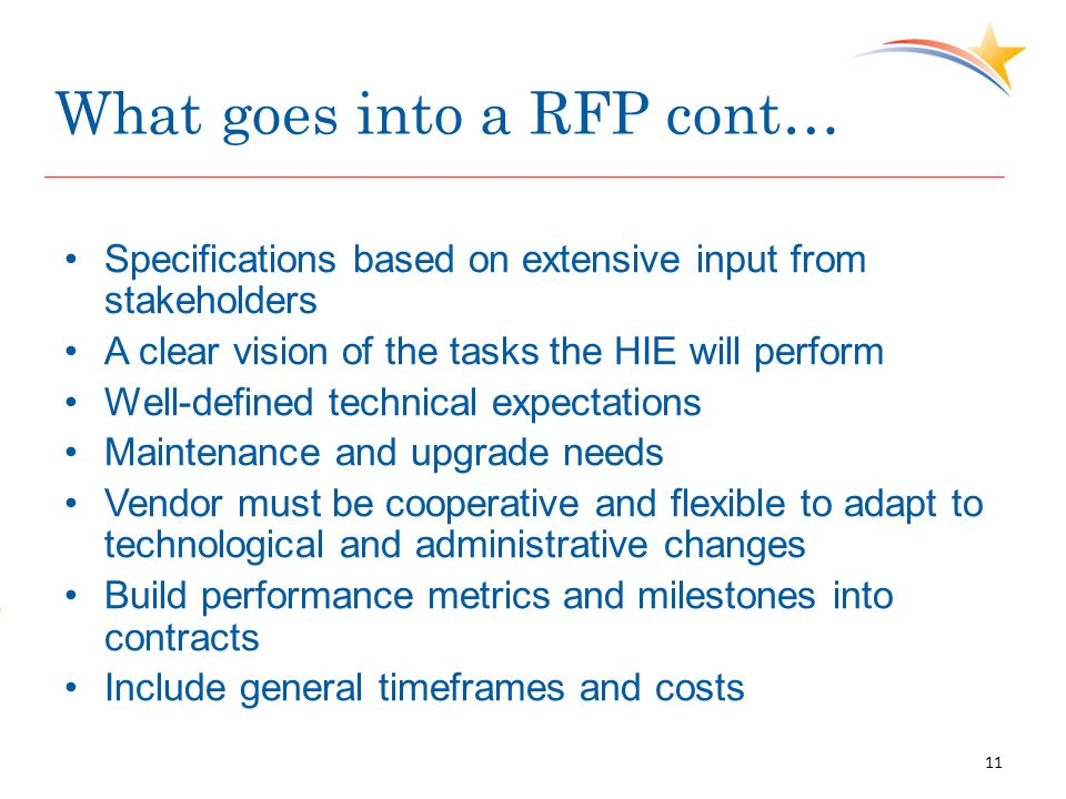 What goes into a RFP cont… Specifications based on extensive input from stakeholders A clear vision of the tasks the HIE will perform Well-defined tec