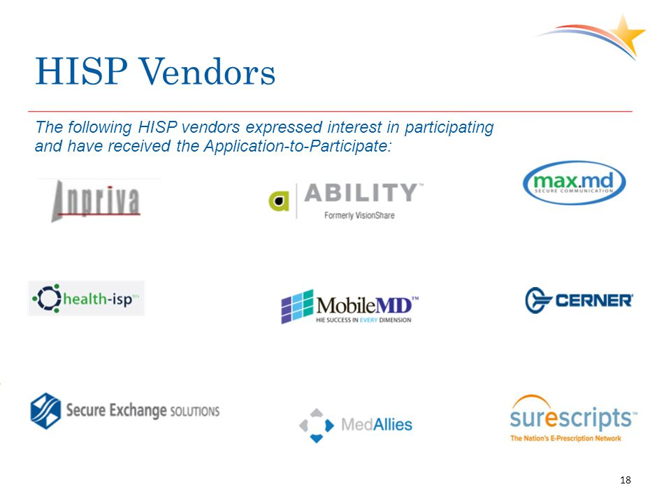 HISP Vendors 18 The following HISP vendors expressed interest in participating and have received the Application-to-Participate: